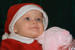 Beth 13 (Sam Lamp Photography) Tags: bear santa christmas pink blue red baby holiday eye hat smiling happy infant elizabeth beth