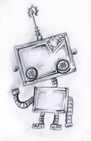 Cute Robot Tattoo Design by Chris Hatch Tattoo Artist