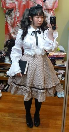 Brown Gingham Lolita Outfit