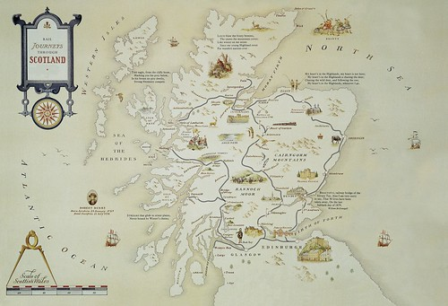Map of rail routes of the Royal Scotsman luxury train