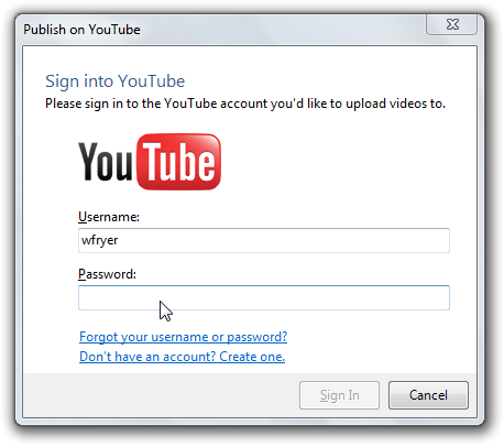 Sign into YouTube in Windows Live Moviemaker