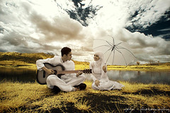 song for you (yoga - photowork) Tags: portrait sky people lake love canon indonesia lens landscape ir photography 350d couple wide canon350d infrared romantic 1022mm prewedding skintone inspiredbylove trasognoerealtà