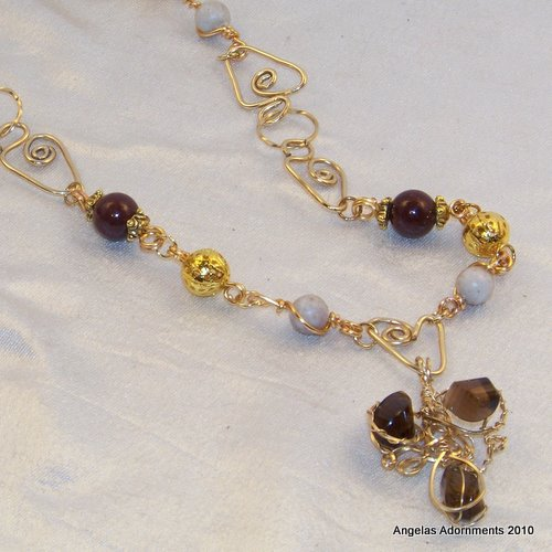 Unique Gold And Smoky Quartz Wire Sculpture Necklace