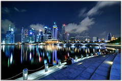 Singapore River - Talk love say love  - (fiftymm99) Tags: seascape reflection clouds marina river nikon singapore nightscape bluesky esplanade cbd bluehour singaporeriver marinabay nightriver nightlover nikond300 marinabaysand fiftymm99