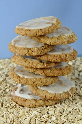 stack chewy oatmeal cookies