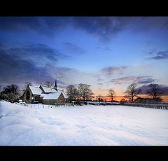 Sunset at Dunham Massey... (i.rashid007) Tags: uk sunset snow church clouds manchester evening freeze dunhammassey altrincham schoollane traffordcouncil dunhamtown