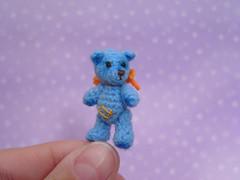 Blue Dream (MUFFA Miniatures) Tags: cute miniatures miniature funny oneofakind ooak crochet amigurumi dollhouse miniaturebear muffa artistbear cdhm bearofthread