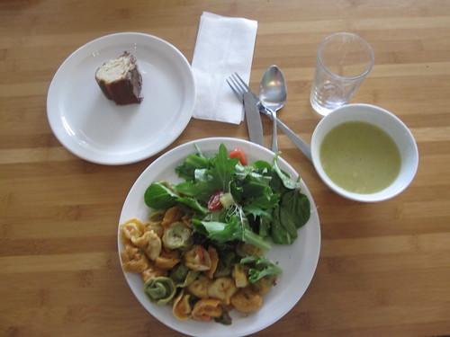 Soup, tortellini, salad, banana bread - $6