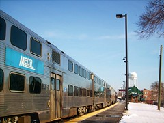 Eastbound Metra commuter local arriving at the Elmwood Park station. Elmwood Park Illinois. Febuary 2008.
