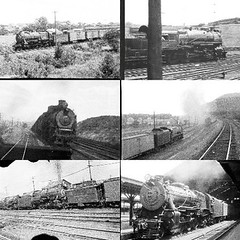 The top two are Consolidation (2-8-0) types.  The top left is probably class H8sb or H9s. The top right could be H8, H8a, H8b or H8c.  The middle pair are class M1 Mountain (4-8-2) types.  The first engine on the lower left is class I1s Decapod (2-10-0) type.  I cannot identify the second of these two helper engines pushing a freight.  The picture was probably taken in the Allegheny Mountains.    The lower right picture is a class K4s Pacific (4-6-2) type, possibly the one that was pulling my train