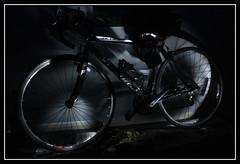 Flashing the bike (CJ Isherwood) Tags: road light lightpainting art bike sport dark painting exposure racing second 2007 specialized allez 25365