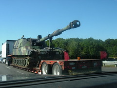 "M109A6 ""Paladin"" (Ex U.S. Army) (sixty8panther) Tags: usa storm america self wow army hardware support highway paint industrial tank power desert massachusetts military south united north tracks andover camo vietnam destroyer weapon western cannon huge wheeler interstate states mass 18 load destructive unexpected peterbilt usarmy oversize propelled m109 might 495 paladin biggun 359 howitzer 155mm treads straightoutofthecamera sooc tankdestroyer indirectfire quiteasight m109a6"