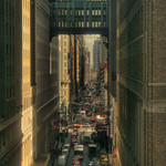 Midtown New York traffic under the Gimbels Bridge