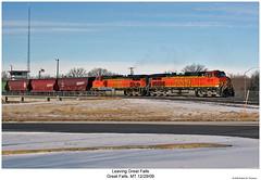 Leaving Great Falls (Robert W. Thomson) Tags: railroad snow train montana diesel greatfalls railway trains locomotive trainengine ge bnsf dash944cw burlingtonnorthernsantafe dash9 c449w sixaxle