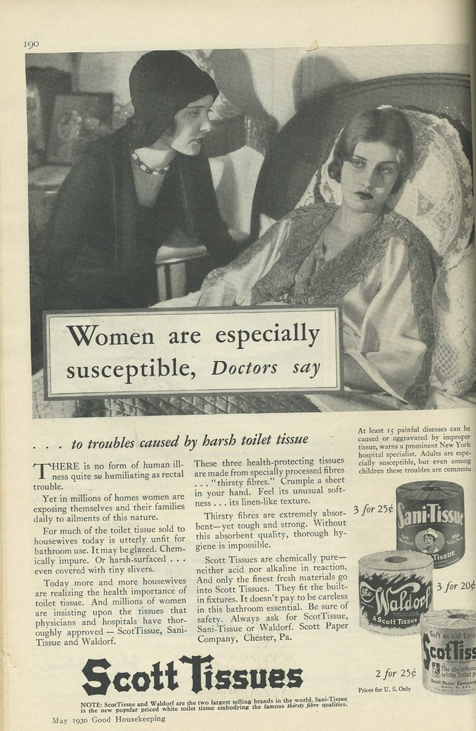 Scott toilet tissue ad 1930