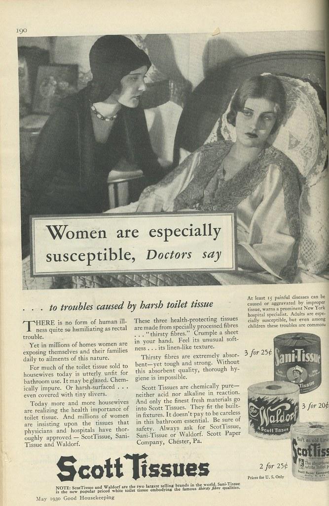 Scott toilet tissue ad 1930