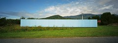 The Blue Fence (@fotodudenz) Tags: new blue panorama west film public pool wall swimming fence island coast kodak south cyan rangefinder hasselblad zealand 100 xpan 2010 ektar 30mm blackball 3056 nz2010 believeinfilm