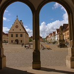 Bardejov: View on the square from the entrance to Basilica minor of St. Egidius