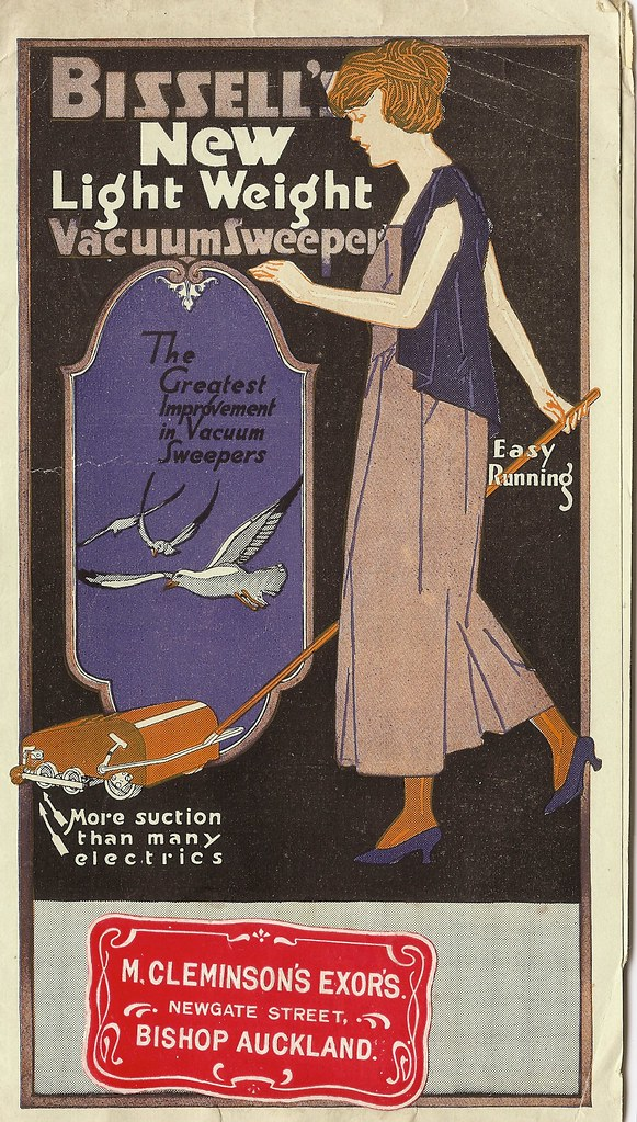 """Bissell's new lightweight vacuum sweeper"" - publicity leaflet issued by Bissell's, from Cleminson's Stores, Bishops Auckland, Co. Durham, UK - c1925"