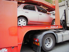 On the truck (Suzieboots) Tags: pink truck nissan arrival micra firstcar citycollection londonrose micraarrival