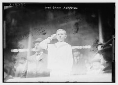 [John Brush Hempstead, son of the New York Giants president Harry Hempstead and grandson of the late John T. Brush (former president of the New York Giants), throws out first pitch of Game One of the 1913 World Series at the Polo Grounds, New York