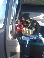 Ry and Littleman riding the monorail