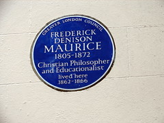 Photo of Frederick Denison Maurice blue plaque