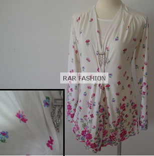 Flowery cotton nursing wear