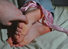 All Tied Up (Artistic Feet) Tags: pictures pink blue girls feet girl up female pose asian photography foot model toes soft long legs skin artistic bare arches games pale jeans nails torture barefoot heels denim ribbon tied fin shape soles ankles tickles torment