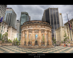 Shrine of Remembrance(1) (WilliamBullimore) Tags: city trees windows sky architecture clouds buildings square shrine cityscape skyscrapers au australia brisbane flags queensland anzac shrineofremembrance anzacsquare canonef70200mmf28lisusm canoneos5dmarkii