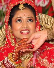 The Beautiful Bride (sharad_2007) Tags: wedding red india smile bride hands marriage jewellery bridal henna mehendi hindu saree bangles