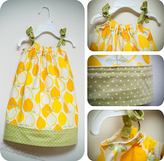 Lemon Pillowcase Dress :D (Linkie Lueville {lindsay}) Tags: baby green girl yellow nikon toddler dress little sewing crafts craft sigma sew polka bow d200 dots pillowcase sundress 1770mm f2845
