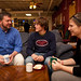 Dr. Mark Metzler Sawin enjoys a cup of coffee with students in Common Grounds.