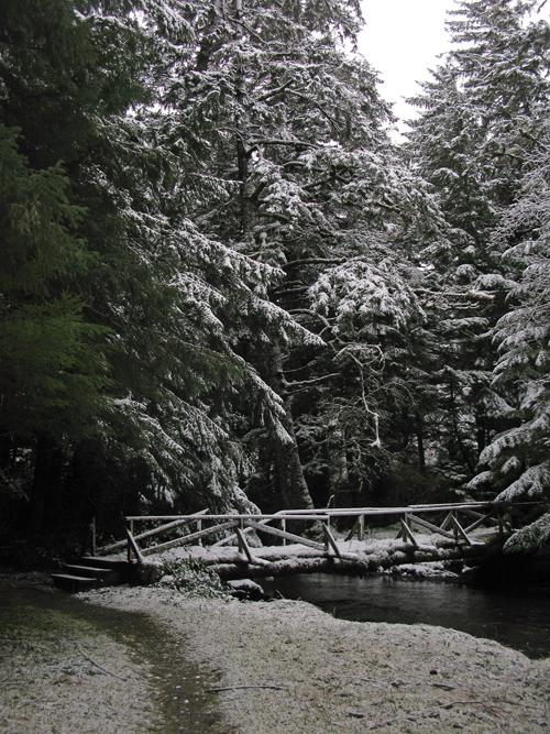 snowy bridge over Son-i-Hat Creek, Kasaan, Alaska