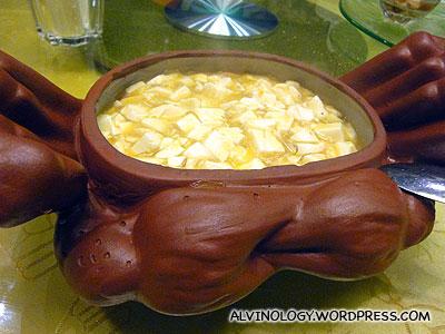 Large pot of tofu