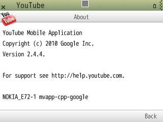 Screenshot YouTube app for S60 2.4.4