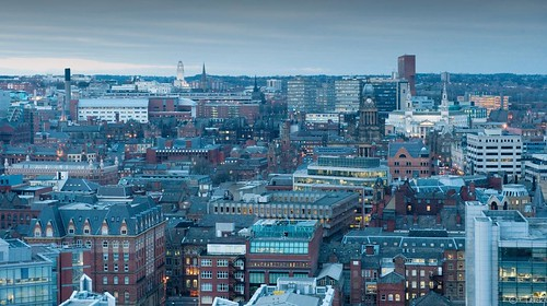 Dusk settling over Leeds city centre