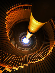 Stairs of Usher from below (Semi-detached) Tags: road light music colour geometric modern circle spiral scotland hall dance edinburgh angle theatre geometry tube wide perspective sigma staircase 1020 usher circular modernist lothian lighttube