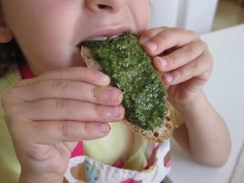 Yummy Pesto on Fresh Bread