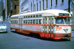 Detroit department of Street Railways PCC car # 272 at the intersection of Woodward and Atwater in 1954.