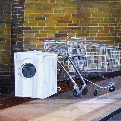 Shopping Machine, Acrylic on Canvas, 31cm x 31cm by Robin Clare