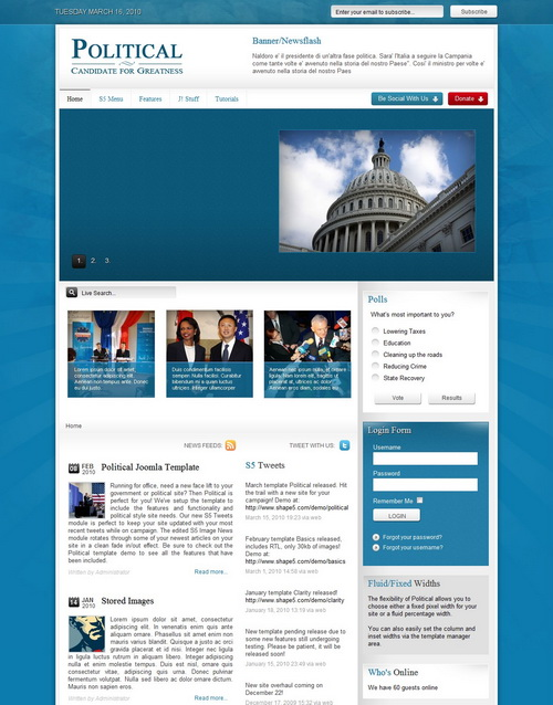 Political   March 2010 Joomla Club Template