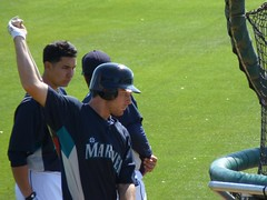 Dustin Ackley at BP during Mariners Spring Training