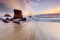 Monolithic Light - McClures Beach, California (PatrickSmithPhotography) Tags: ocean california travel sky usa cloud seascape storm nature canon landscape vanishingpoint sand surf wind tide marin wave foam 5d pointreyes monolith mkii kehoe 1740l nationalseashore mcclures canon5dmkii 5dmkii photocontesttnc11