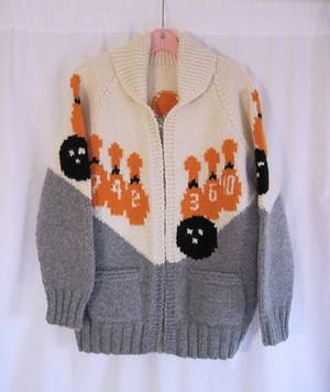"Front Vintage 1950s ""Mary Maxim"" Bowling Sweater"