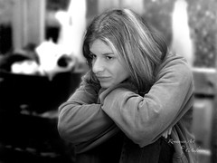 ponder (flaccphotography) Tags: blackandwhite woman girl ponder