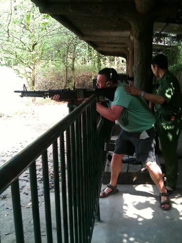 Rob shooting an M16