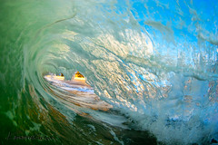 AquaDome ( KristoforG) Tags: ocean blue sky sun green 20d water clouds canon hawaii sand pacific board tube salt wave curl rise skim waterhousing tokins