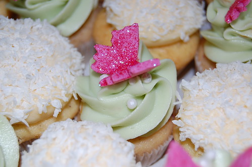 Wedding cupcakes with Pink butterflies :)