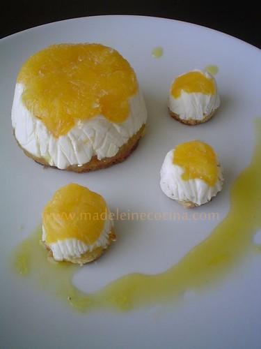 Postre de naranja y miniaturas de degustación
